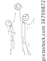 Vector Cartoon of Two Tall Basketball Players  36709872