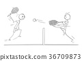 Vector Cartoon of Two Tennis Players Playing 36709873