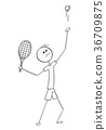 Vector Cartoon of Male Tennis Player Service  36709875