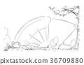 Cartoon of Male Golf Player Hit by His Ball 36709880