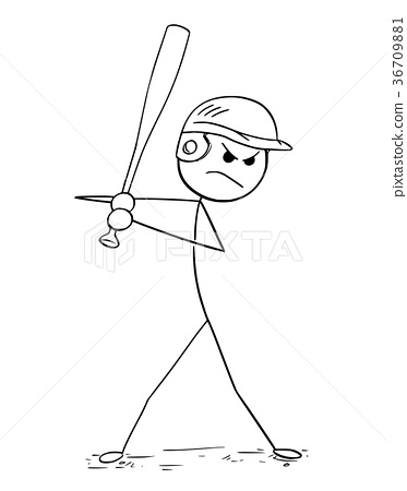 Cartoon of Male Baseball Player Batter 36709881
