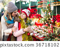 Adult mom and girl looking at flowers decoration 36718102