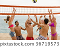 Friends playing volleyball at beach 36719573