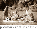 Family of four having picnic 36721112