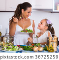 Woman and girl holding salad 36725259