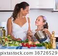 Woman teaching girl to cook 36726529