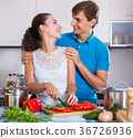 Young family couple cooking vegetables 36726936
