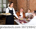 Waitress placing order in front of guests 36729842