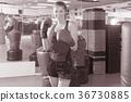 Portrait of woman boxer 36730885