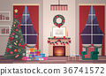 Christmas interior of the living room in a flat 36741572
