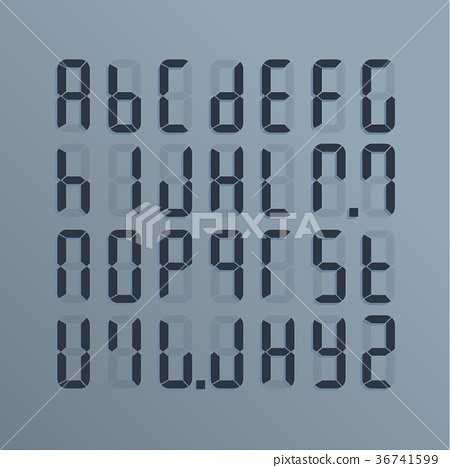 A realistic electronic alphabet from A to Z. 36741599