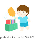 Cute boy wiping the dust from bookshelf vector. 36742121