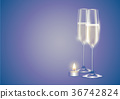 Champagne two full flutes white wine and candle 36742824