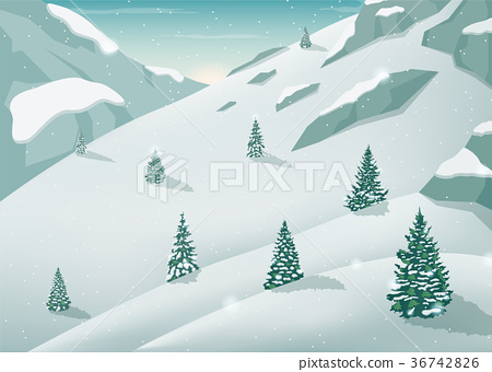 Winter landscape with snow trees and mountains 36742826