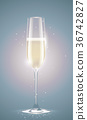 Transparent champagne glass sparkling white wine 36742827