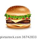 Vector Hamburger icon. Classic American burger 36742833