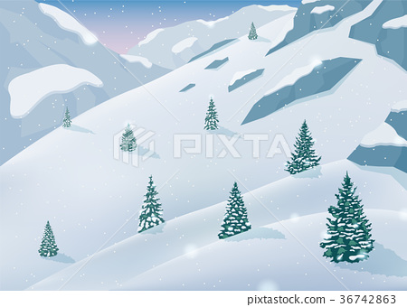 Winter landscape with snow trees and mountains 36742863