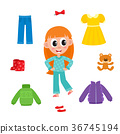 Little girl in pajamas and her wardrobe, clothes 36745194