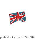 Flat style waving Union Jack, British flag 36745204