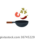 vector flat asian wok with flying ingredients 36745229