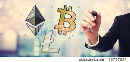 Bitcoin, Ethereum and Litecoin with businessman 36747825