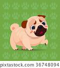 Pug Dog Happy Cartoon Sitting Over Footprints 36748094