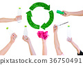 Hand hold show Recyclable Symbol plastic bottle 36750491