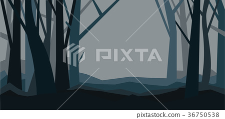 Forest without leaves in the dusk. Misty landscape 36750538