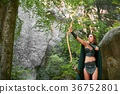Mature Amazon warrior in the woods 36752801