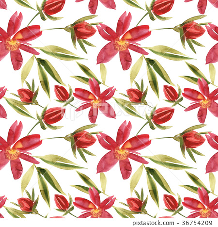 Flowers watercolor illustration. Seamless pattern 36754209