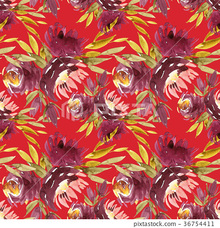Seamless summer pattern with watercolor flowers 36754411