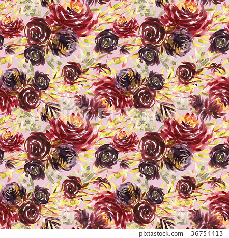 Seamless summer pattern with watercolor flowers 36754413