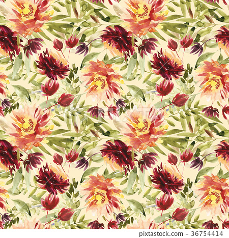 Seamless summer pattern with watercolor flowers 36754414