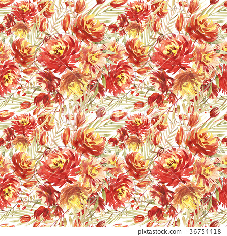 Seamless pattern with large watercolor flowers by 36754418
