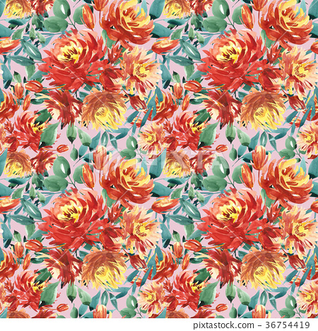 Seamless pattern with large watercolor flowers by 36754419