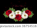Greeting card with  roses and  gerberas on  blac 36754516