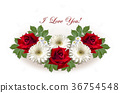 Card with red roses and white gerberas on white   36754548