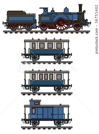 Vintage blue steam train 36755402