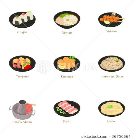 Japanese food icons set, cartoon style 36756664