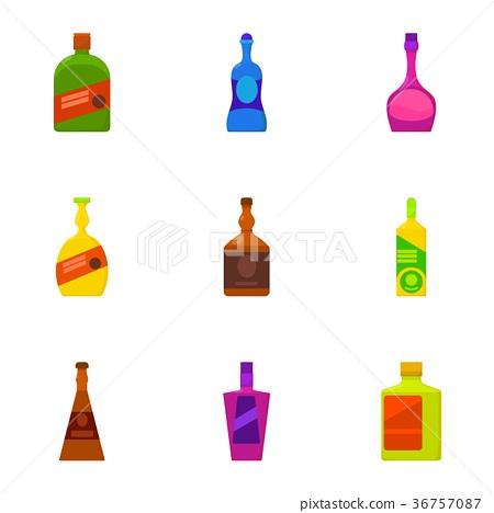 Types of alcohol bottle icons set, cartoon style 36757087