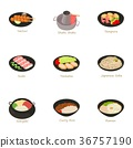Different asian food icons set, cartoon style 36757190