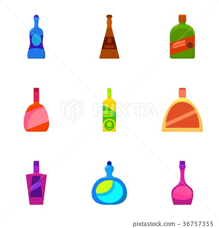 Different bottle icons set, cartoon style 36757355