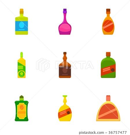 Alcoholic bottle icons set, cartoon style 36757477