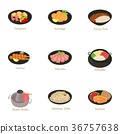 Traditional food icons set, cartoon style 36757638