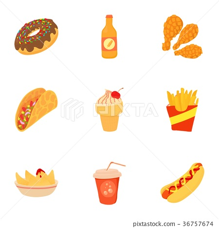 Tasty Fast Food Icons Set Cartoon Style Stock