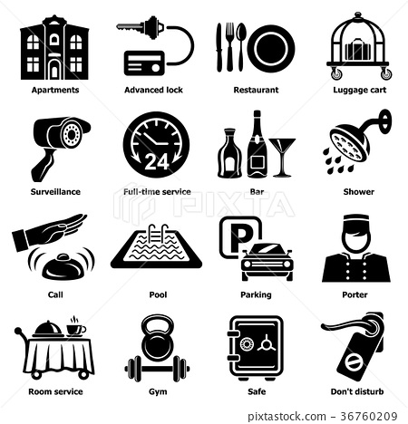 Hotel service icons set, simple style 36760209
