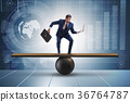 Businessman trying to balance on ball and seesaw 36764787