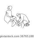 Doctor examining calf muscle of female patient 36765188