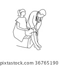 Neurologist using small hammer to test knee reflex 36765190