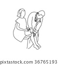 Neurologist using small hammer to test right knee 36765193